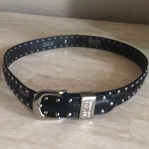 Versace black studded leather belt-authentic